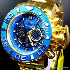 Invicta Sea Hunter III Blue 70mm Full Sized Swiss Chrono Gold Plated Watch New