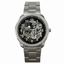 Yin Yang Dragon White Tiger Chinese Symbol Stainless Steel Sport Watch New!
