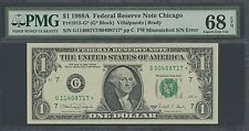 Fr1915-G* $1 1988A Star Note Error 2 S/N Mismatched Pmg 68 Superb Gem Unc Wl9832