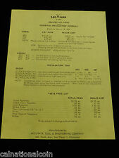 Wright Saf-T-Dor Dealers Net Price and Suggested Installation Schedule 1949
