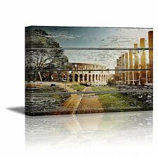 """Canvas Prints Wall Art - Colosseum in Rome on Vintage Wood Background- 24"""" x 36"""""""