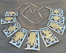 18K GOLD 925 STERLING SILVER MIXED METAL PANEL NECKLACE PERU STYLE OF G.LAFFI