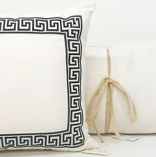 SOUTHERN LIVING IVORY KING DUVET COVER SET 5pc PILLOWS BLACK Greek Key CREAM NEW
