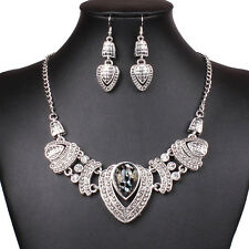 Hot Tibet silver Heart Pendant Women Chunky Bib Statement Necklace Earrings Set