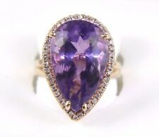 Fine Huge Pear Cut Amethyst Lady's Ring w/Diamond Halo 14k Rose Gold 12.31Ct
