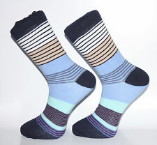 High Quality Blues, White and Tan Striped Socks