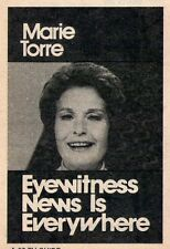 1973 2 Tv Ad's~MARIE TORRE KDKA FIRST FEMALE NEWS ANCHOR 1962-1977~PITTSBURGH,PA
