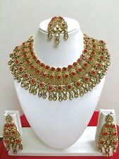 Indian Bollywood Style Fashion Gold Plated Bridal Jewelry Necklace Set