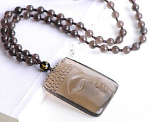Natural obsidian ice Buddha pendant + full bead necklace