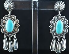 Sterling Silver Navajo Dangle Earrings Donovan Cadman Natural Royston Turquoise