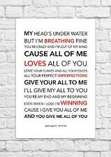 John Legend - All Of Me - Song Lyric Art Poster - A4 Size