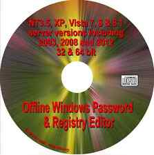 Windows Password Reset, XP Vista 7, 8, 8.1, NT3.5 Server 2003 2008 2012 Boot CD