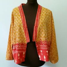 Market Place Dignity Not Charity Ethnic Handwoven Ikat Open Jacket Gold Orange L