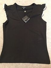 Burberry London Black Cotton Top T-shirt Authentic New Size M