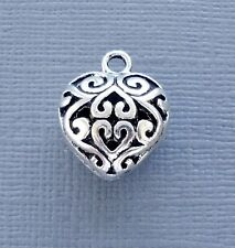 Lot 5 pcs Pendant Dangle Charm HEART Silver tone Jewelry finding DIY C105