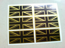 Drapeaux Union Jack Black & Gold Ensemble de 6 Go UK VOITURE BUMPER Stickers Autocollants 50mm