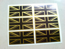 UNION JACK FLAGS Black & GOLD Set of 6 UK GB Car Bumper Stickers Decals 50mm