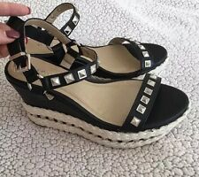 TORRID Platform Wedges Size 9 Sandals STUDDED Vegan Braid Rope Black Heels Shoes