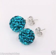 Crystal Shamballa STUD Earrings10mm Disco Pave Ball Wedding Bride