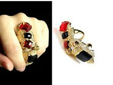Cool Long Armor Knuckle Full Finger Ring Gothic Punk Rock Biker Jewelry Golden