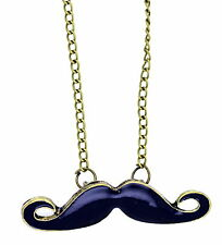 Goth punk biker black moustache chain necklace
