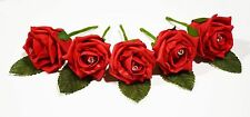 5 Rose Wedding Buttonholes with diamante - 44 colours - Groom, Guest, Best man