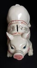 Old Oriental Ceramic Pig Piggy Bank Long Lash Luck Lucky 12 inches Long