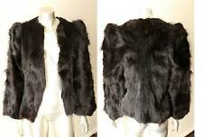 Retro Long Hair Real Fur Exotic Vintage 80s Steampunk Goth Black Coat Sz XS