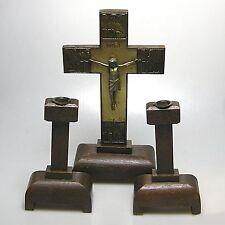 Antikes Eichenkreuz  Kreuz mit Leuchtern Hausaltar ca. 30 x 17 cm