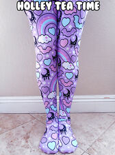 Rainbow Spooky Bats Tights Purple: Pastel Goth, Creepy Cute, Moons Size XL