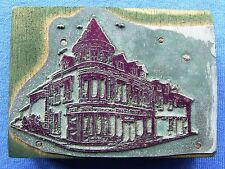 Adana Letterpress Printing BLOCK Large BUILDING or SHOP on Corner with Turret