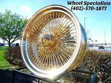 "22"" Inch All Gold Dayton Style 150 spoke Wire Wheels New Rim Set (4) Custom Show"