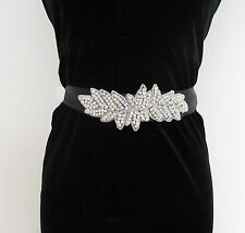 Black Silver Diamante Belt 1920s Flapper Prom Great Gatsby Vintage Art Deco 5AN