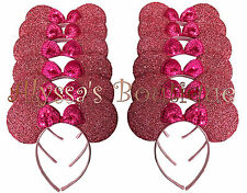 12 Minnie Mickey Mouse Ears Headbands Shiny Pink Birthday Party Favors Costume