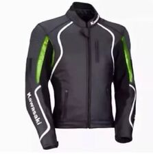 KAWASAKI BLACK MOTORBIKE LEATHER JACKET- FULL PROTECTION