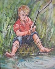 Fishing Boy by Kay Bachman vintage 16 x 20 print