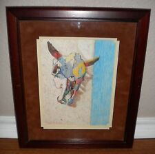 Original Crayon On Paper Folk Painting Bull's Cow's Skull Framed Matted w/Glass