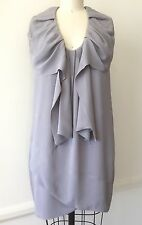 BCBG Max Azria Runway Sz 6 Grey Rayon Crepe Sleeveless Cocktail Shift Mini Dress