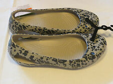 Crocs Womens Kadee animal print flat smoke relaxed fit W 8 shoes croslite