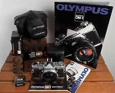 MINT OLYMPUS OM1n OM 1n + box + case + strap + shoe 4 + flash T20 + brochures