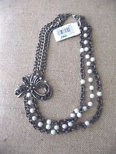Robert Rose Black Bow and Pearl Necklace NEW NWT