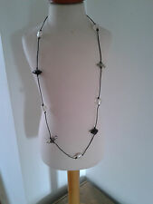 Fab long glass bead necklace NEW handmade funky shape beads with silvered hearts