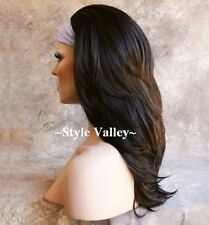 Dark Brown 3/4 Fall Straight Long Natural layers Half Wig Hair Piece GORGEOUS!