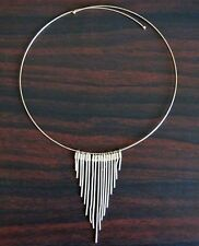 """SILVER Plated STRAND HOOP CHOKER NECKLACE. Strand is 3"""" long. 5"""" diameter circle"""