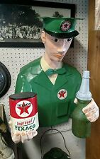 Vintage texaco paper mache oil gas figure sign can bottle wall hang man