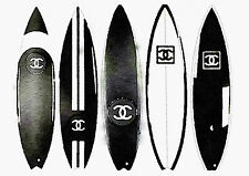 ART PRINT Chanel Surfboard Poster Watercolor Painting, Black A3 16  x 11 inches
