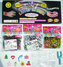 LOOM BRACELET MAKING KIT + PEARL B & W RASTA COLOURS 1500 BANDS CHARMS S-CLIPS