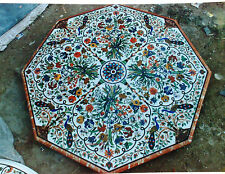 5'x5' MARBLE  CORNER CENTER  DINING COFFEE TABLE TOP MOSAIC INLAY WORK