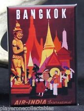 "Bangkok Vintage Travel Poster 2"" X 3"" Fridge / Locker Magnet. Air India Thailand"