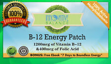 Vit B-12 Energy Patch - 1200mcg Methylcobalamin + 400mcg Folic Acid 1 mos supply